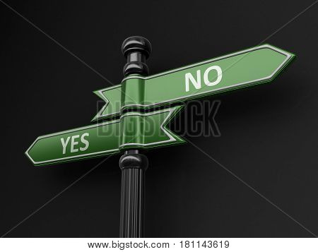 3d illustration. Yes and No pointers on signpost. Image with clipping path