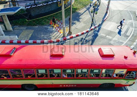 BANGKOK THAILAND - FEBRUARY 07: This is a Thai public bus in the downtown area which many locals use to get around in Bangkok on February 07 2017 in Bangkok