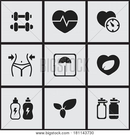 Set Of 9 Editable Lifestyle Icons. Includes Symbols Such As Leaf In Heart, Weight Measurement, Stopwatch And More. Can Be Used For Web, Mobile, UI And Infographic Design.