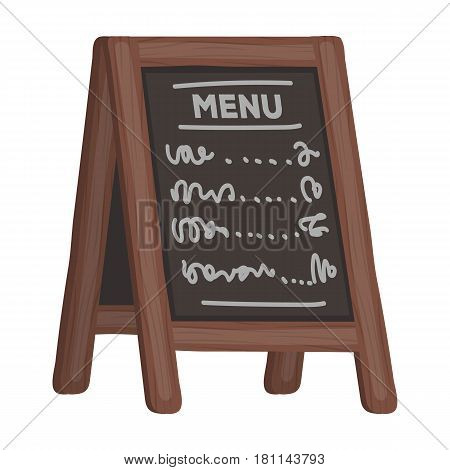 Street bar menu.A sign with the tasty dishes in the street. Pub single icon in cartoon style vector symbol stock web illustration.