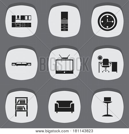 Set Of 9 Editable Furniture Icons. Includes Symbols Such As Office, Bookrack, Watch And More. Can Be Used For Web, Mobile, UI And Infographic Design.