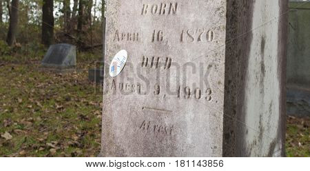 Sticker on a tombstone that indicates the occupant voted