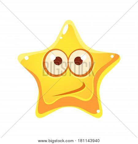 Confused emotional face of yellow star, cartoon character isolated on a white background