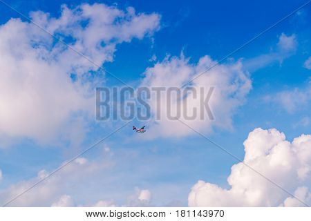 Abstract blur Blue sky  with Sea plane flying above Maldives islands