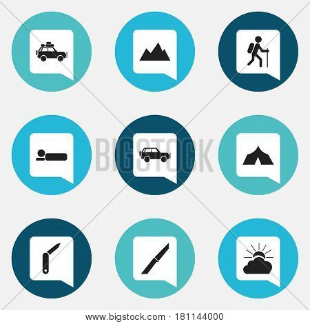 Set Of 9 Editable Travel Icons. Includes Symbols Such As Sunrise, Sport Vehicle, Voyage Car And More. Can Be Used For Web, Mobile, UI And Infographic Design.