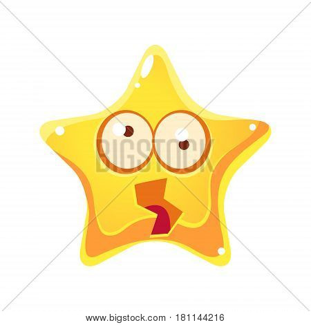 Yellow star shocked and dizzy with rotating big eyes, cartoon character isolated on a white background