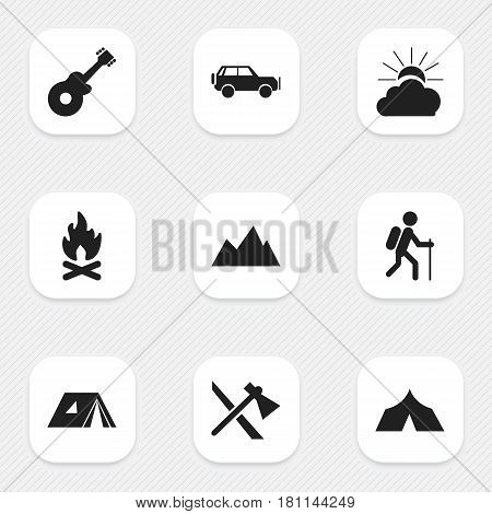 Set Of 9 Editable Trip Icons. Includes Symbols Such As Gait, Tomahawk, Musical Instrument And More. Can Be Used For Web, Mobile, UI And Infographic Design.