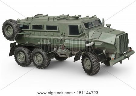 Truck green armored transport defense vehicle. 3D rendering
