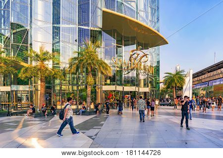 BANGKOK THAILAND - FEBRUARY 05: This is the Siam Paragon shopping mall a famous luxury shopping mall in downtown Bangkok on February 05 2017 in Bangkok