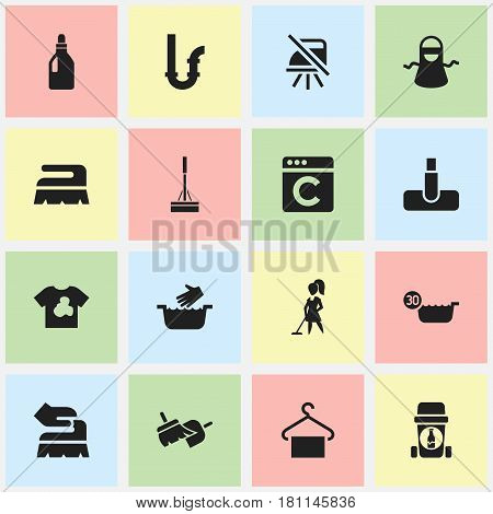 Set Of 16 Editable Dry-Cleaning Icons. Includes Symbols Such As Drainpipe, Clothes Washing, Cold Water And More. Can Be Used For Web, Mobile, UI And Infographic Design.
