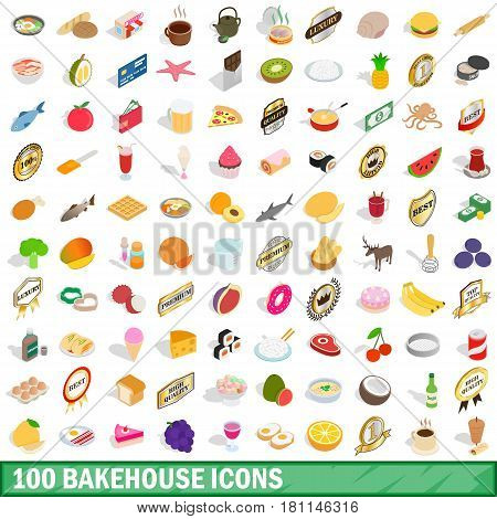 100 bakehouse icons set in isometric 3d style for any design vector illustration