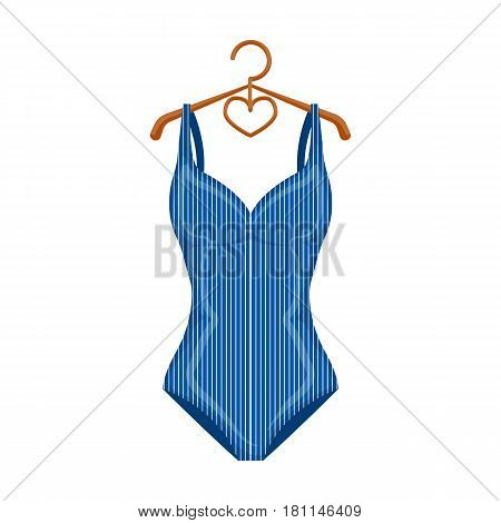 Blue women stripe swimsuit. Clothes for swimming.Swimcuits single icon in cartoon style vector symbol stock web illustration.
