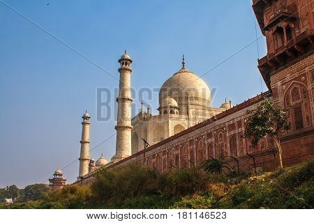 Taj Mahal in sun light with a little indian temple in the front. Early in the morning, back view behind the fence, from outside, river side. Image with a blue sky. One of the most famous building in the world. This mausoleum was built in 1631.