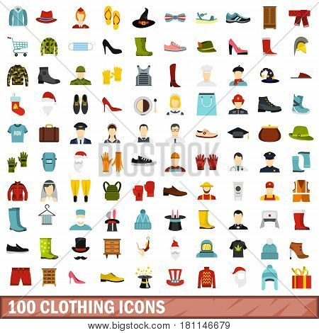 100 clothing icons set in flat style for any design vector illustration