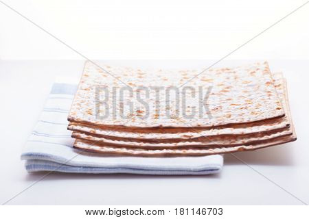 Matza and Eggs on the table. Jewish celebration passover