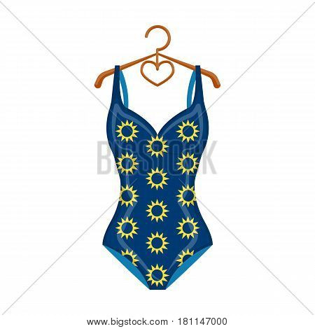 Blue swimsuit with sunflowers. Swimsuit for swimming in the pool.Swimcuits single icon in cartoon style vector symbol stock web illustration.