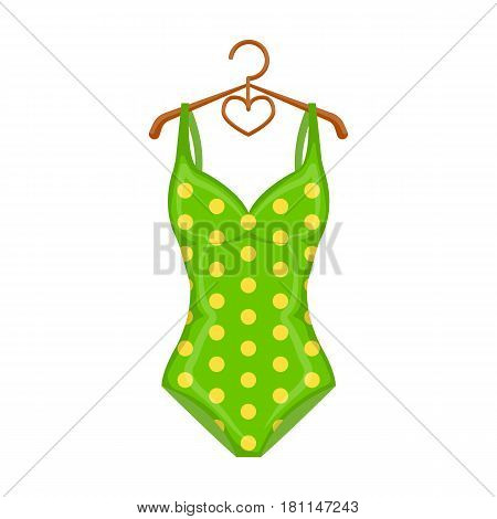 Bright green swimsuit with yellow flowers. Clothes for girls on the beach.Swimcuits single icon in cartoon style vector symbol stock web illustration.