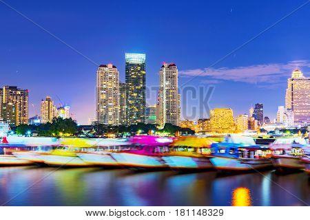 Chao Phraya river view at night in Bangkok Thailand