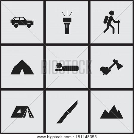 Set Of 9 Editable Camping Icons. Includes Symbols Such As Bedroll, Ax, Sport Vehicle And More. Can Be Used For Web, Mobile, UI And Infographic Design.