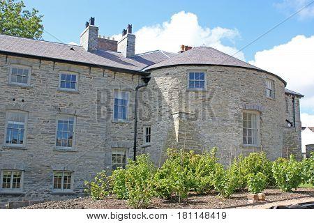 Exterior of Cardigan Castle buildings in Wales