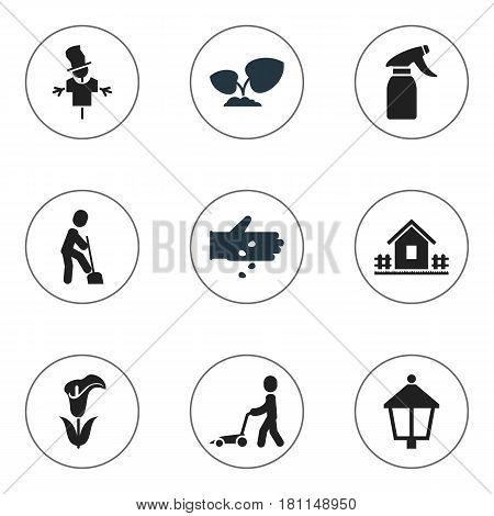 Set Of 9 Editable Agriculture Icons. Includes Symbols Such As Streetlight, Home With Fence, Lily And More. Can Be Used For Web, Mobile, UI And Infographic Design.
