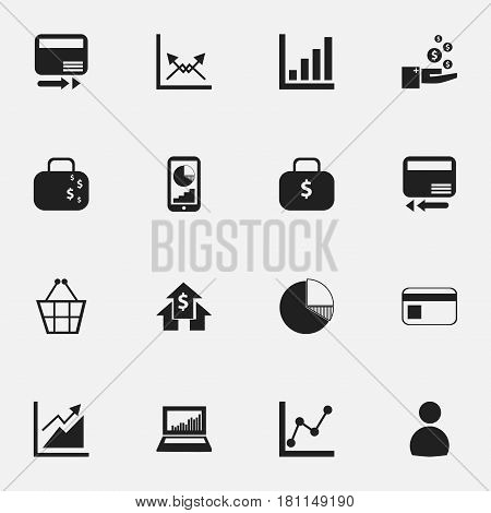 Set Of 16 Editable Statistic Icons. Includes Symbols Such As Banking House, User, Bank Payment And More. Can Be Used For Web, Mobile, UI And Infographic Design.
