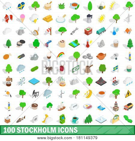 100 stockholm icons set in isometric 3d style for any design vector illustration