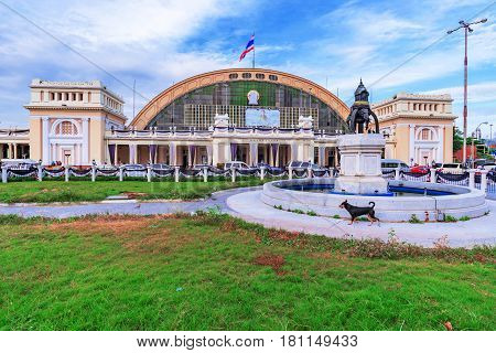 BANGKOK THAILAND - FEBRUARY 03: This is Hua Lamphong railway station. It is the main railway station in Bangkok where many people come to travel domestically to other parts of Thailand on February 03 2017 in Bangkok