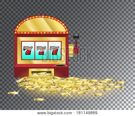 Slot Machine With A Pile Of Gold Coins.