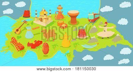Turkey travel map horizontal banner concept. Cartoon illustration of Turkey travel mapvector horizontal banner for web