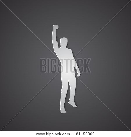 Business Man Silhouette Excited Hold Hands Up Raised Arms, Concept Winner Success Vector Illustration