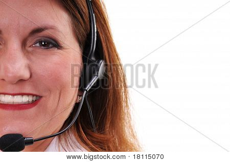Pretty woman wearing headset