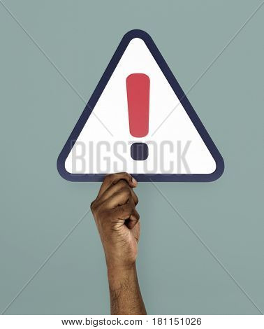 Hand Holding Exclamation Mark Symbol