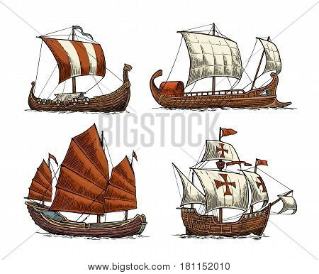 Trireme caravel drakkar junk. Set sailing ships floating on the sea waves. Hand drawn design element. Vintage vector color engraving illustration for poster postmark. Isolated on white background.
