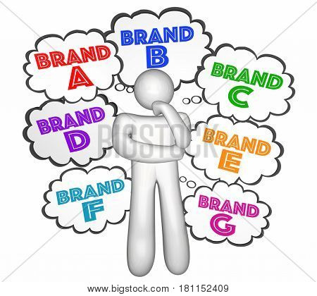 Brand Choices Customer Choosing Best Company Thought Clouds 3d Illustration