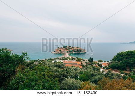 Island of Sveti Stefan, close-up of the island in the afternoon. Montenegro, the Adriatic Sea, the Balkans.