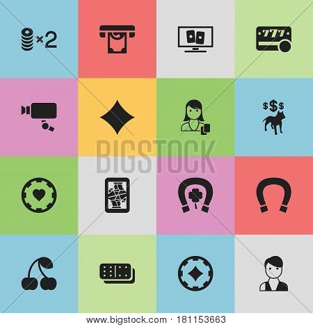 Set Of 16 Editable Game Icons. Includes Symbols Such As Horseshoe With Clover, Luck Charm, Wager And More. Can Be Used For Web, Mobile, UI And Infographic Design.