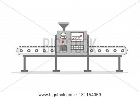 Production concept. Isolated Conveyor belt in flat design. Factory production-vector illustration.