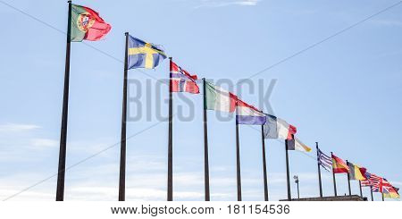 Multitude Of Flag Full Of Countries Float In The Wind