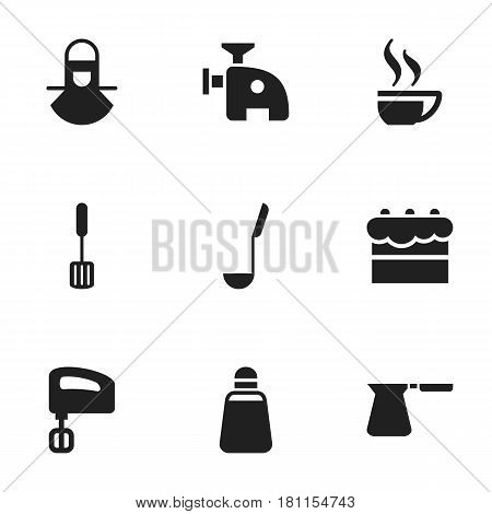 Set Of 9 Editable Food Icons. Includes Symbols Such As Agitator, Soup Spoon, Trowel And More. Can Be Used For Web, Mobile, UI And Infographic Design.