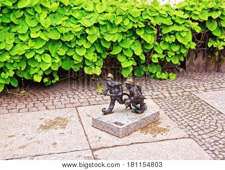 Wroclaw Poland - May 3 2014: Small dwarf figurines as symbol of Wroclaw Poland