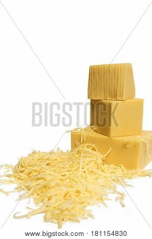 Piece of cheese and grated, isolated on white background