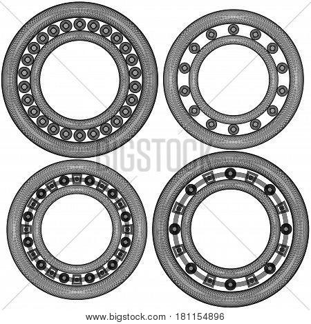 Four ball bearings simple vector linear illustration