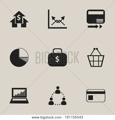 Set Of 9 Editable Statistic Icons. Includes Symbols Such As Trading Purse, Money Bag, Pay Redeem And More. Can Be Used For Web, Mobile, UI And Infographic Design.