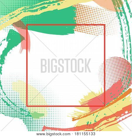 Frame with vector color patterns, modern graphic design elements, grunge textures or geometric background for brochure, bisness card, poster
