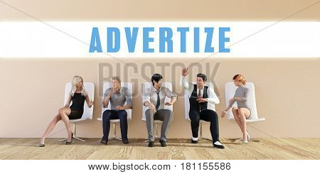 Business Advertize Being Discussed in a Group Meeting 3D Illustration Render