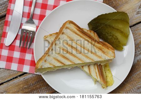 Toasted cheese sandwich with gherkin on white plate