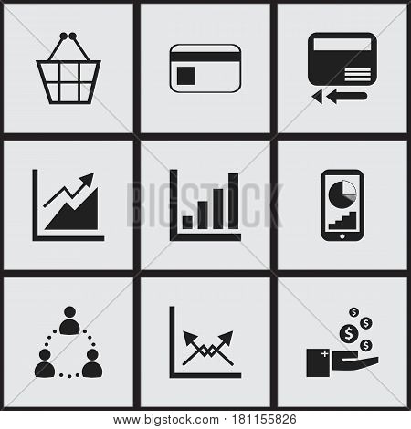 Set Of 9 Editable Statistic Icons. Includes Symbols Such As Phone Statistics, Progress, Trading Purse And More. Can Be Used For Web, Mobile, UI And Infographic Design.