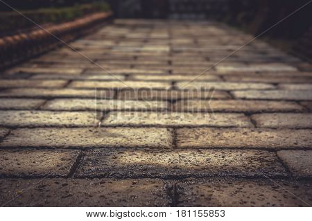 Vintage stone pavement pathway with vanishing point as ancient background in vintage style