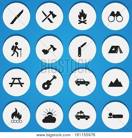 Set Of 16 Editable Travel Icons. Includes Symbols Such As Peak, Musical Instrument, Fever And More. Can Be Used For Web, Mobile, UI And Infographic Design.